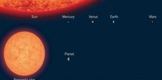 Barnards star contrast size sun