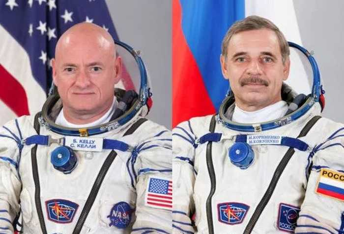 Russian cosmonaut Mikhail Kornienko and NASA astronaut Scott Kelly